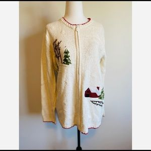 Vintage Cottage Core Zip-up Sweater Embroidered